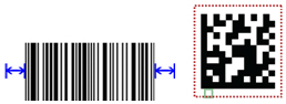 The quiet zone must be at least 10 times the width of the narrowest bar on either side of a linear (1D) barcode, or the width of one element on each side of a 2D symbol.