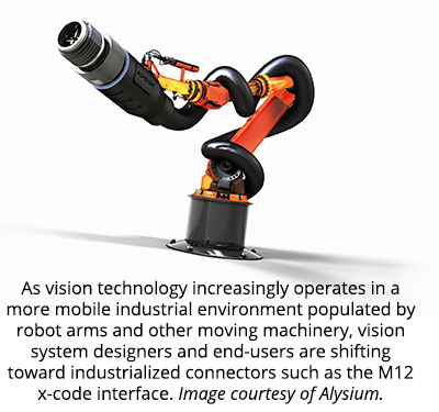 As vision technology increasingly operates in a more mobile industrial environment populated by robot arms and other moving machinery, vision system designers and end-users are shifting toward industrialized connectors such as the M12 x-code interface. Image courtesy of Alysium.