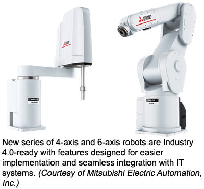 New series of 4-axis and 6-axis robots are Industry 4.0-ready with features designed for easier implementation and seamless integration with IT systems. (Courtesy of Mitsubishi Electric Automation, Inc.)