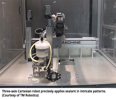 Three-axis Cartesian robot precisely applies sealant in intricate patterns. (Courtesy of TM Robotics)