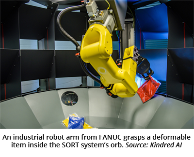 An industrial robot arm from FANUC grasps a deformable item inside the SORT system's orb. Source: Kindred AI