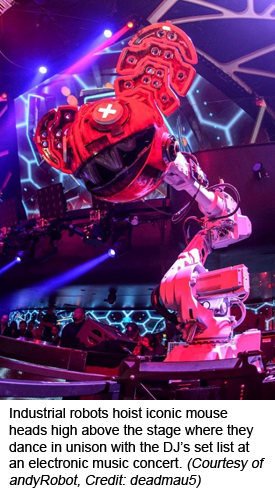 Industrial robots hoist iconic mouse heads high above the stage where they dance in unison with the DJ's set list at an electronic music concert. (Courtesy of andyRobot, Credit: deadmau5)