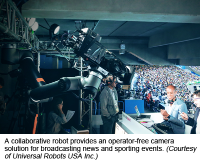 A collaborative robot provides an operator-free camera solution for broadcasting news and sporting events. (Courtesy of Universal Robots USA Inc.)
