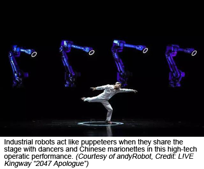 "Industrial robots act like puppeteers when they share the stage with dancers and Chinese marionettes in this high-tech operatic performance. (Courtesy of andyRobot, Credit: L!VE Kingway ""2047 Apologue"""