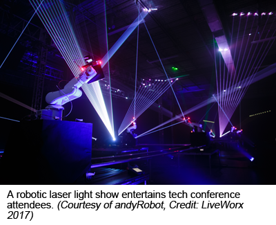 A robotic laser light show entertains tech conference attendees. (Courtesy of andyRobot, Credit: LiveWorx 2017)