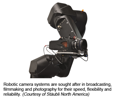 Robotic camera systems are sought after in broadcasting, filmmaking and photography for their speed, flexibility and reliability. (Courtesy of Stäubli North America)