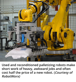 Used and reconditioned palletizing robots make short work of heavy, awkward jobs and often cost half the price of a new robot. (Courtesy of RobotWorx)